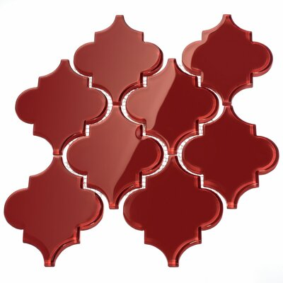 Water Jet 3.9 x 4.7 Glass Mosaic Tile in Ruby Red