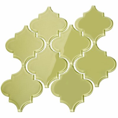 Water Jet 3.9 x 4.7 Glass Mosaic Tile in Light Olive