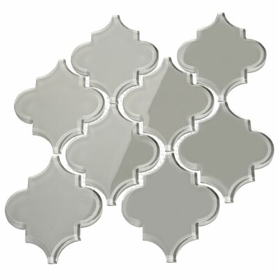 Water Jet 3.9 x 4.7 Glass Mosaic Tile in Light Gray