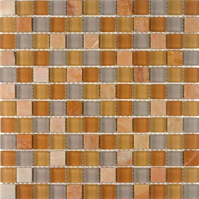 Glacier Mountain 0.875 x 0.875 Glass and Natural Stone Mosaic Tile in Terra Firma