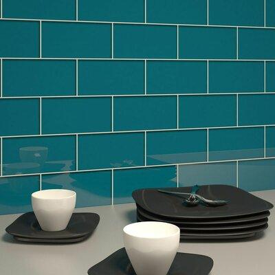 subway 6 x 3 tile in dark teal subway tile backsplash