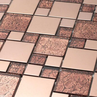 Venetian Random Sized Glass and Aluminum Mosaic Tile in Satin Copper
