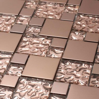 Venetian Random Sized Glass and Aluminum Mosaic Tile in Copper Goddess