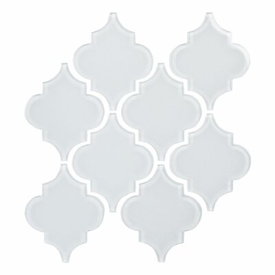 Water Jet 3.9 x 4.7 Glass Mosaic Tile in Ornamental Bright White