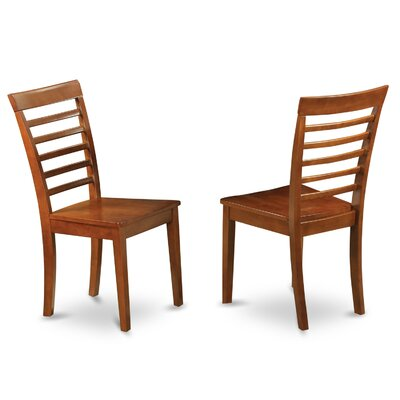 Milan Solid Wood Dining Chair (Set of 2) Finish: Saddle Brown