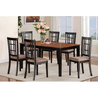 Nicoli 7 Piece Dining Set Finish: Black and Cherry, Chair Upholstery: Taupe Upholstered