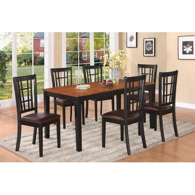 Nicoli 7 Piece Dining Set Finish: Black and Cherry, Chair Upholstery: Faux Leather