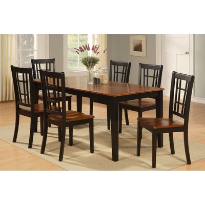 Pillar Modern 7 Piece Dining Set Finish: Black and Cherry, Chair Upholstery: Non-Upholstered Wood