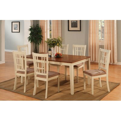 Pillar Modern 7 Piece Dining Set Finish: Buttermilk and Cherry, Chair Upholstery: Taupe Upholstered