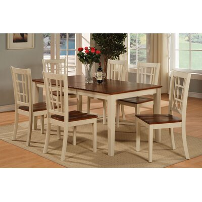 Pillar Modern 7 Piece Dining Set Finish: Buttermilk and Cherry, Chair Upholstery: Non-Upholstered Wood