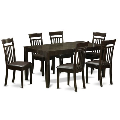 Lynfield 7 Piece Dining Set Upholstery: Faux Leather