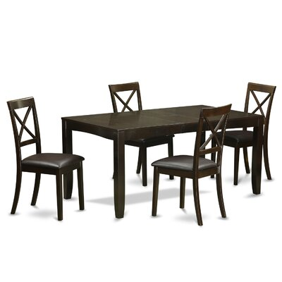 Lynfield 5 Piece Dining Set Upholstery: Faux Leather