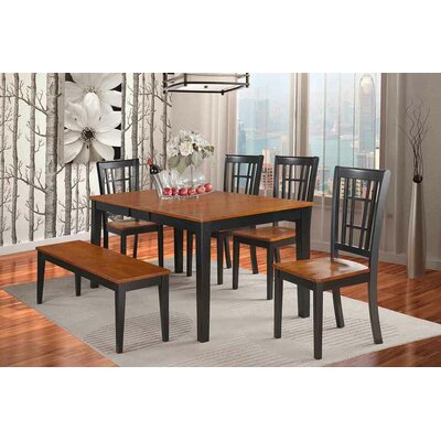 Pillar 6 Piece Dining Set Finish: Black/Cherry