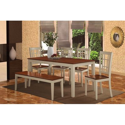 Pillar 6 Piece Dining Set Finish: Buttermilk/Cherry
