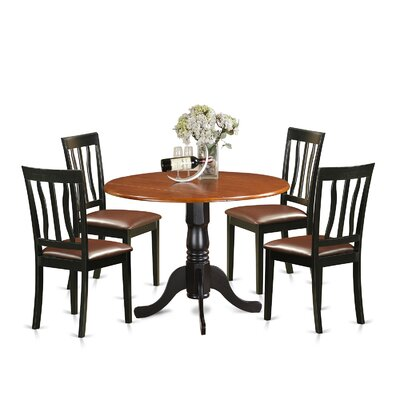 5 Piece Dining Set Upholstery: Faux Leather