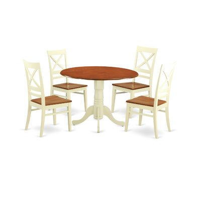 5 Piece Dining Set Finish: Buttermilk-Cherry
