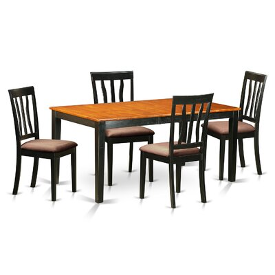 5 Piece Dining Set Upholstery: Microfiber Upholstery