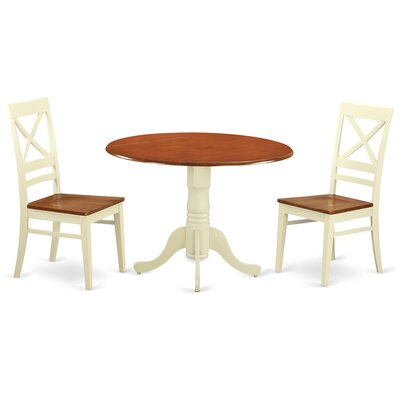 3 Piece Dining Set Finish: Buttermilk-Cherry