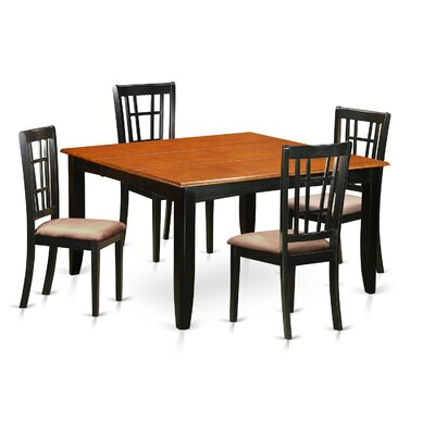 Pilning Modern 5 Piece Wood Dining Set Upholstery: Microfiber