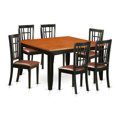 Pilning Contemporary 7 Piece Wood Dining Set Upholstery: Faux Leather