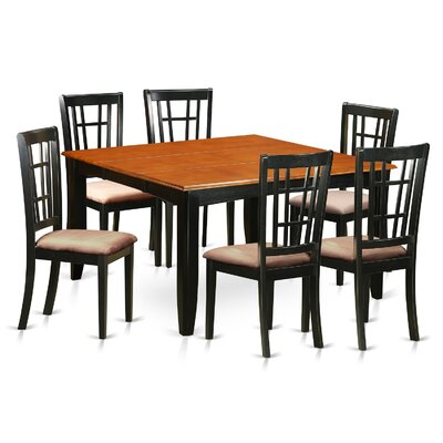 Pilning Contemporary 7 Piece Wood Dining Set Upholstery: Microfiber