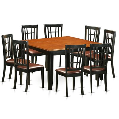 Plainville 9 Piece Dining Set Upholstery: Faux Leather