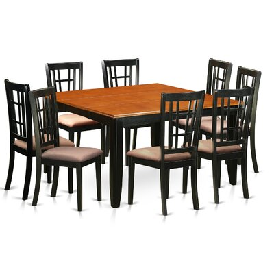Plainville 9 Piece Dining Set Upholstery: Microfiber