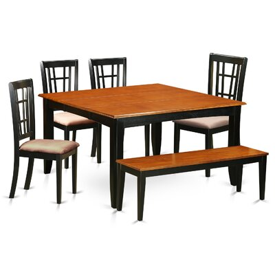 Pilning Contemporary 6 Piece Wood Dining Set Upholstery: Microfiber