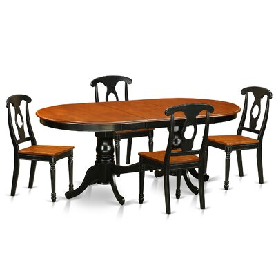 Plainville 5 Piece Dining Set Finish: Black / Cherry