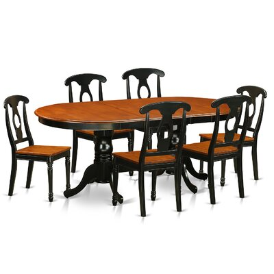 Plainville 7 Piece Dining Set Finish: Black / Cherry