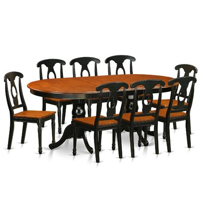 Pilcher Modern 9 Piece Dining Set Finish: Black / Cherry