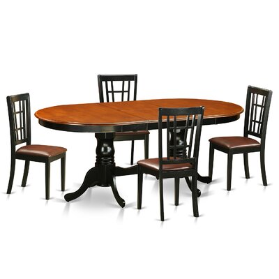Plainville 5 Piece Dining Set Upholstery: Faux Leather
