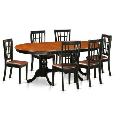Plainville 7 Piece Dining Set Upholstery: Faux Leather