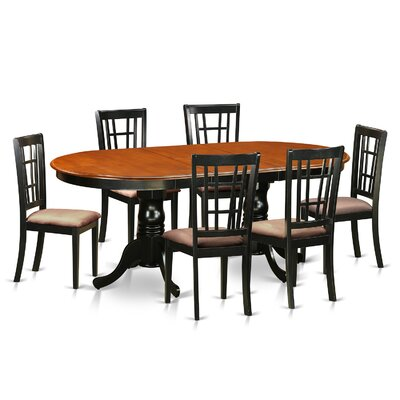 Plainville 7 Piece Dining Set Upholstery: Microfiber