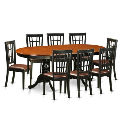Pilcher 9 Piece Wood Dining Set Upholstery: Faux Leather