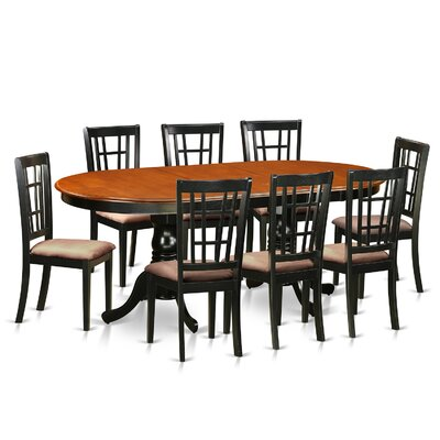 Pilcher 9 Piece Wood Dining Set Upholstery: Microfiber