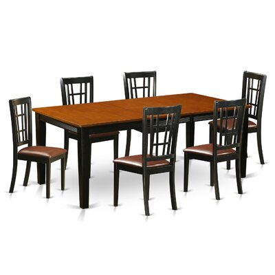 Quincy 7 Piece Dining Set Upholstery: Faux Leather