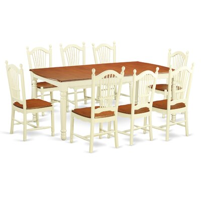 Pimentel 9 Piece Dining Set with Rectangular Table Top Finish: Buttermilk/Cherry