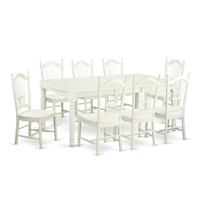 Pimentel 9 Piece Dining Set with Rectangular Table Top Finish: Linen White