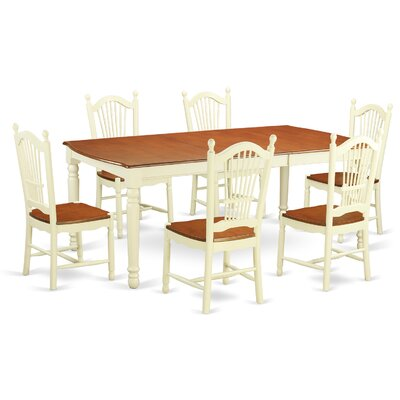 Pimentel Modern 7 Piece Dining Set Finish: Buttermilk/Cherry