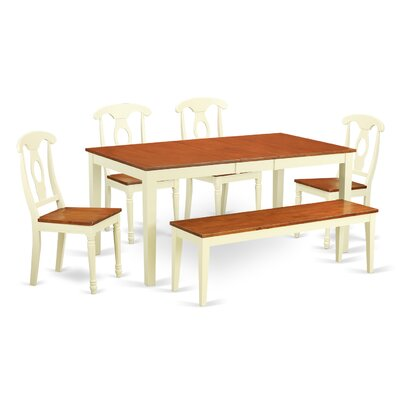 Pillar Traditional 6 Piece Wood Dining Set with Rectangular Table Top Finish: Buttermilk / Cherry