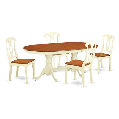 Plainville 5 Piece Dining Set Finish: Buttermilk / Cherry
