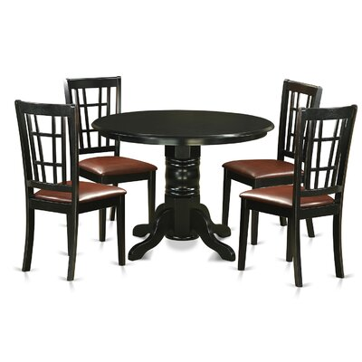 Shelton 5 Piece Dining Set Upholstery: Faux Leather