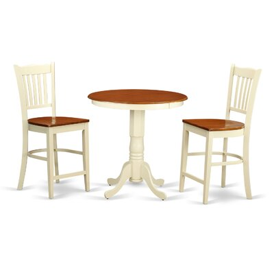 Eden 3 Piece Counter Height Pub Table Set Finish: Buttermilk/Cherry