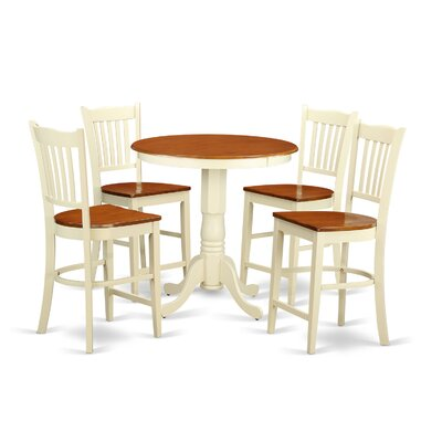 Eden 5 Piece Counter Height Pub Table Set Color: Buttermilk/Cherry