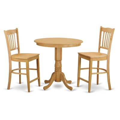 Jackson 3 Piece Counter Height Pub Table Set Color: Oak