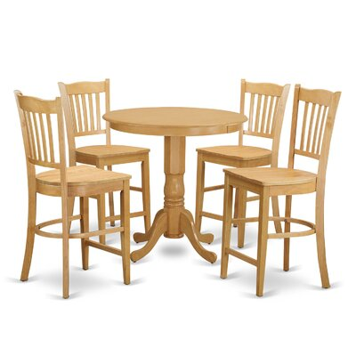Jackson 5 Piece Counter Height Pub Table Set Color: Oak