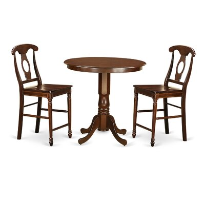 Jackson 3 Piece Counter Height Pub Table Set Finish: Mahogany