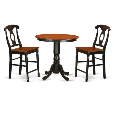 Jackson 3 Piece Counter Height Pub Table Set Finish: Black/Cherry
