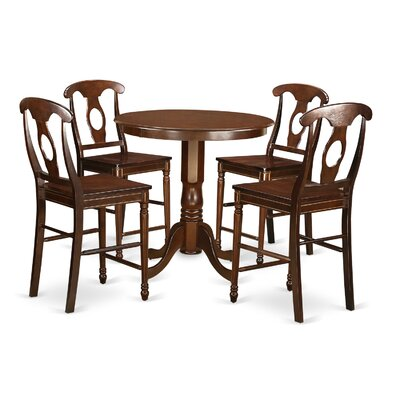 Jackson 5 Piece Counter Height Pub Table Set Finish: Mahogany